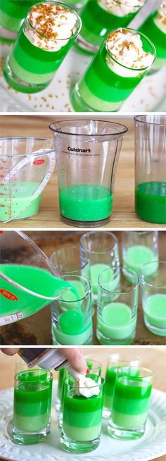 At the end of the rainbow, we'd much rather see these Ombre St. Patrick's Day Jello Shots. As good as gold, these boozy dessert treats are as festive as they are delicious—thanks to the lime flavoring! Tequila, Vodka, Bartender Set, St Patrick's Day Cocktails, Green Cocktails, Liquor Pourers, St Patricks Day Drinks, St Patrick Day Treats, Jelly Shots