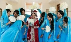 Desi bride and her bridesmaids.