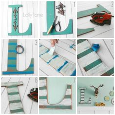 DIY Distressed striped wall letter