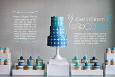 blue ombre cake | Our Blue Ombre Sweet table features a cake, inspired by Miso Bakes .