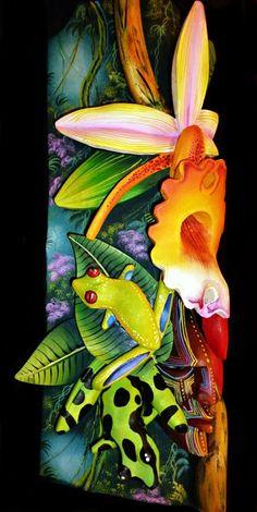 Rana verde arboricola ojos rojos y rana verdi negra.