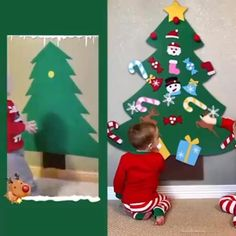 Homemade Christmas Tree, Christmas Trees For Kids, Dollar Store Christmas, Christmas Activities, Christmas Crafts For Kids, Kids Crafts, Christmas Diy, Christmas Decorations, Xmas Tree