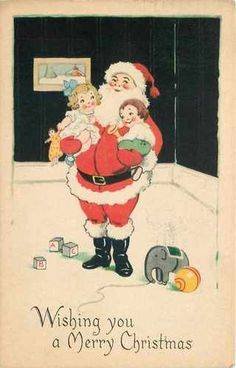 Santa Claus Art Deco Holds Toddlers in Nursery Elephant Toy Black Gibson Art | eBay