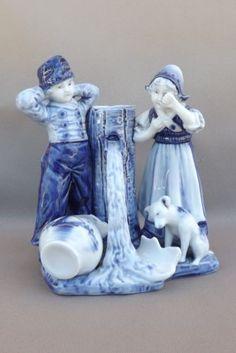 Antique-Delft-Vase-Figurine-Boy-Girl-Dog
