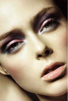Pastel metallic eye makeup