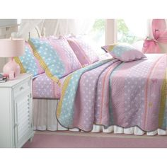 Lola Quilt Set. Quilt reversible- stripes are vertical on the other side. $36.47 at Walmart.com  Also at Wayfair.com for a few dollars more (called greenland home fashions on wayfair).