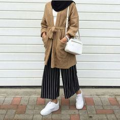 camel wool long cardigan with belt + white shirt + black hijab / scarf + black w. camel wool long cardigan with belt + white shirt + black hijab / scarf + black white pinstripe long Hijab Casual, Hijab Chic, Casual Outfits, Muslim Fashion, Modest Fashion, Trendy Fashion, Fashion Outfits, Fashion Black, Fashion Clothes