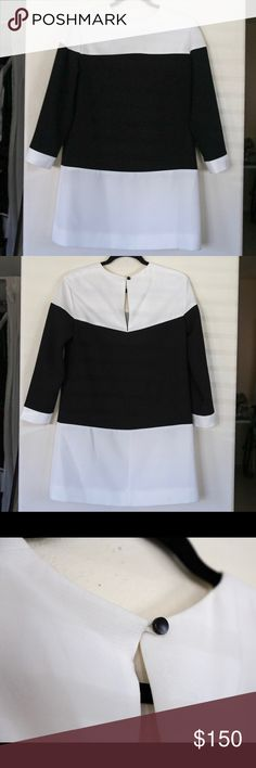 kate spade new york delray shift dress Black and white color block shift dress. 3/4 sleeve with a drop waist and button closure. kate spade Dresses