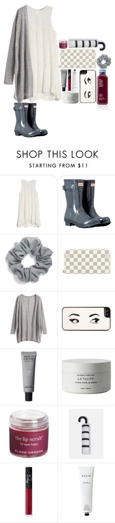 """classic rainy days"" by mhallmark ❤ liked on Polyvore featuring mode, Chelsea Flower, Hunter, Natasha Couture, Louis Vuitton, Kate Spade, Byredo, Sara Happ, MANGO et NARS Cosmetics"