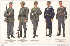 (from left to right) German Wehrmacht enlisted soldiers casual field uniform, Wehrmacht enlisted soldiers combat field uniform, Wehrmacht officers' field uniform, Kriegsmarine land combat uniform, and Luftwaffe fallschirmjäger (paratrooper) enlisted combat field uniform.