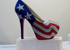 WOMENS Kustom Made to Order AMERICAN FLAG .. Heels All Sizes 5.5 - 10 on Etsy, $75.00