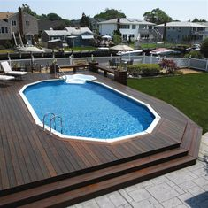 Relaxing Above Ground Pools with Decks for an Outdoor Party : Modern Wooden Above Ground Pool Deckl White Lounge