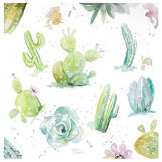 Ceramic Watercolor Cacti and Succulent Print Coasters - Thirstystone, Multi-Colored Watercolor Cactus, Watercolor Paintings, Watercolors, Cacti And Succulents, Cute Drawings, Art Sketches, Cute Art, Art Inspo, Art Reference