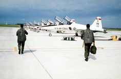 Instructor and student pilots on the T-38 flight line at Vance Air Force Base, Enid, Oklahoma.