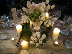 pretty white and green spring evening table