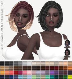 Miss Paraply: Nightcrawler`s Amunet in bob braid hairstyle: solids and ombres • Sims 4 Downloads