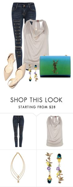 """""""Untitled #2523"""" by janicemckay ❤ liked on Polyvore featuring Dondup, Tory Burch, Betsey Johnson, Paul Andrew and Yves Saint Laurent"""