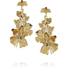 Aurélie Bidermann Tangerine gold-plated earrings (885 BRL) ❤ liked on Polyvore featuring jewelry, earrings, jewelry - earrings, gold, clip-on earrings, aurelie bidermann earrings, gold plated earrings, leaves earrings and tangerine jewelry