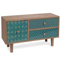 Kästchen GYPSET mit 3 Schubladen und blauen Motiven