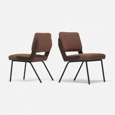 Gustavo Pulitzer; Enameled Metal and Leather Chairs for Arflex, 1958.