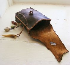 THE WOODS deerskin leather Belt Pouch medicine bag by pradoleather