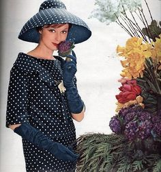 Navy-blue and white polka dotted ensemble by Christian Dior , May 1959