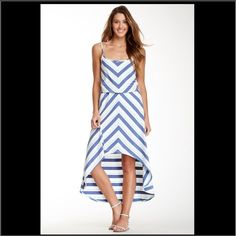 """4th of July SaleSeven7 Chevron Hi-Low Blue D5-Super cute chevron hi-low blue maxi dress. Elastic waist & adjustable straps. Lenght front: 29"""", back: 43"""". NWT Seven7 Dresses High Low"""