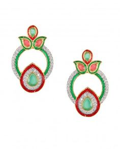 Round Earrings with Zircons and Green Stone