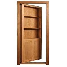 Choose this unfinished cherry wood hidden bookcase door to add a secret door that fits seamlessly in your home. Hidden Doors In Walls, Hidden Door Bookcase, 4 Shelf Bookcase, Door Shelves, Hidden Rooms In Houses, Hidden Panic Rooms, Wall Shelving, Pallet Shelves, Bookcases
