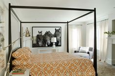 The photo, not the ugly bed. I will totally have a blown up photo of my own horses in my house!