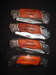 Groomsmen Gifts  4 Personalized Engraved Pocket by laserbabygifts, $88.00