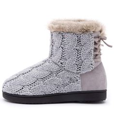 6c1d0a57c Women's Soft Yarn Cable Knit Bootie Slippers Indoor & Outdoor Shoes