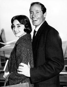 Audrey Hepburn and Mel Ferrer at London Airport, 1956.