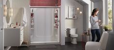 STORE+ is a fully customizable storage shower system from Sterling with movable accessories to eliminate clutter and organize your shower to fit your needs. Shower Storage, Shower Systems, Old Houses, Clutter, Plumbing, Organization, Cabinet, Bathroom, Store