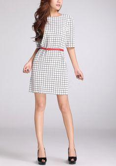 Grid Printing chiffon dress womens dress long by happyfamilyjudy
