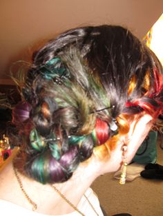 Rainbow hair underneath my natural colour, plaited and twisted. I loved it like this. Late 2013.