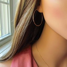 Medium Gold Hoop Earrings Thin Lightweight by PamelaCurran on Etsy