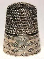 Simons Sterling Silver Thimble with Lines and Diamonds c.1890s