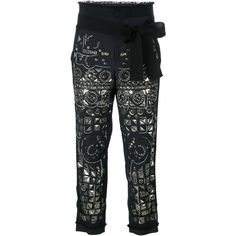 A.F.Vandevorst '161 Pearl' cropped trousers ($2,040) ❤ liked on Polyvore featuring pants, capris, black, cropped pants, cropped trousers, a.f. vandevorst, cropped capri pants and embroidered pants