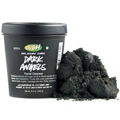 Lush Dark Angels - Velvety black sugar cleanser Black sugar and charcoal gently exfoliate and absorb excess oils to leave dull, oily and acne-prone skin with a clean, matte finish. Even oily skin can be sensitive, so we've made this one soft and soothing to calm redness and irritation. Antimicrobial rhassoul mud deep cleanses to help prevent breakouts while vitamin rich cold-pressed organic avocado oil nourishes skin to leave it soft and hydrated. (I want to try this)