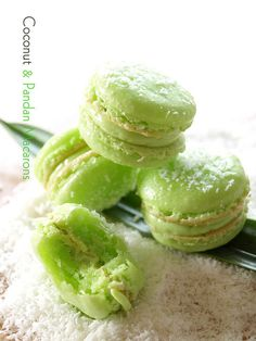"❥ Coconut pandan macarons with pandan butter cream... ""for the butter cream i used just pandan custard mix with whisk butter"" ... no recipe on this photo, but I googled and found lots of others. See my newer pins on this board for recipes. ;)"