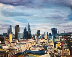 St Paul's London, Looking East - Cityscape Painting from British Urban Artist | From a unique collection of  Landscape Paintings at https://www.1stdibs.com/art/paintings/landscape-paintings/.