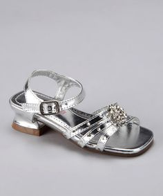Zulily Laura Ashley Shoe - Silver Rhinestone Strap Sandal.  I know that Suri Cruise wears heels, but seriously... they expect that my 3-year old should wear a shoe with a heal like this?