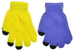 If you're looking for a great gift for all those iphone, ipad and other touch screen users out there - then pick these up. The different color tips - are made to be reactive with screens. It's a perfect accessory for anyone that wears gloves without the hassle of having to take off your gloves every time you need to answer the phone or play with your touch screen. Best fit is women's hands or Small/Med men's hands. 88% Acrylic, 2% Polyester...