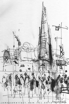 Street Sketch, The Shard, London from the South Bank, The Thames. www.jamesabellart.com