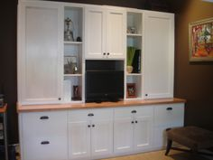 Custom book shelves and file cabinets.