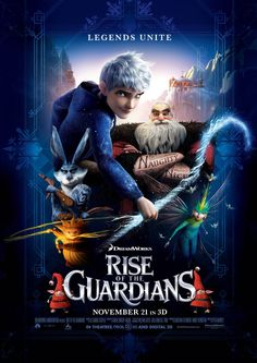 Rise of the Guardians Thoroughly enjoyed this film. A child should embrace their dreams (Sandman), hopes (Easter Bunny), wonder (Santa Claus), memories (Tooth Fairy) and last but not least, FUN! Jack Frost is my favourite! Kid Movies, Family Movies, Cartoon Movies, Great Movies, Dreamworks Movies List, Children Movies, New Disney Movies, Rise Of The Guardians, See Movie