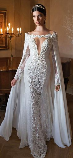 Long Sleeve Mermaid Wedding Dresses lace
