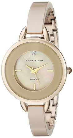 Anne Klein Women's AK/2132TNGB Diamond-Accented Tan Ceramic Bangle Watch -- Visit the image link more details.