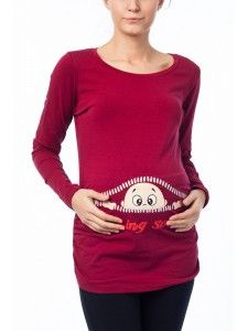 Hamile Giyim Fermuardan Bakan Bebek Esprili T-shirt